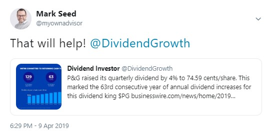 PG Dividend Increase